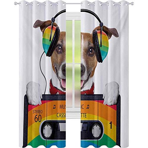 Mörkläggningsgardiner, hundlyssna på musik från en gammal kassett på 80-talet färgglada hörlurar, W52 x L84 mörkläggningsgardiner för fönster/draperier, flerfärgade