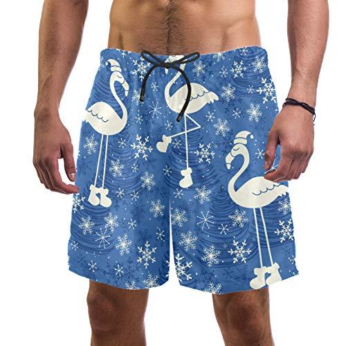Abenily Bañador para hombre, diseño de copo de nieve, color azul, con 2 bolsillos, forro de malla transpirable, secado rápido