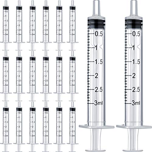 20 Packs Plastic Syringe with Measurement, Suitable for Measuring, Watering, Refilling (3 ml)