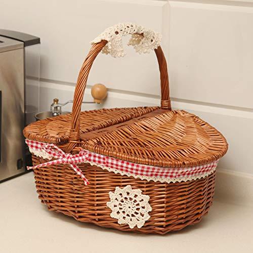 Oval Country Style Korb Picknickkorb mit Klappgriffen & Linern aus Weidenholz für 2 Personen Picknickkoffer Picknicks, Partys und BBQs,Braun,B