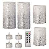 Darice White/Silver, Battery-Operated LED Candle Set: Glitter, Remote Included, 9 Pieces