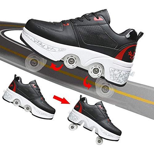 PLAYH Zapatos para Caminar Automáticos Zapatos para Caminar Multifuncionales Invisibles con Polea Invisible Zapatos De Rueda Deformada De Doble Fila para Niños para Deportes Al Aire Libre