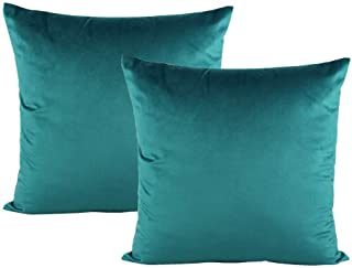 Christmas Decorative Teal Throw Pillow Covers Velvet Couch Cozy Cushion Cases Soft Solid Square Home Decoration for Sofa Bedroom Office Car 18x18 Inch Set of 2