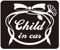 imoninn CHILD in car ステッカー 【マグネットタイプ】 No.29 お花リボン (黒色)