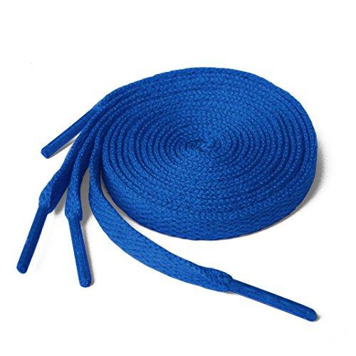 Lacci per scarpe, modello piatto, colorati, per scarpe da ginnastica, scarpini da calcio, adatti a tutte le marche, per adulti e bambini, Blu (Classic Blue), 150 cm