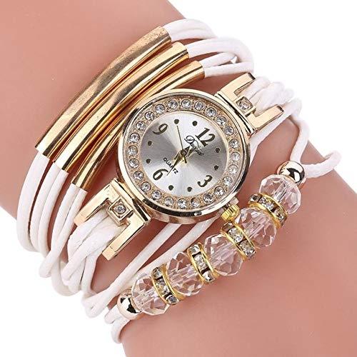 ZHU Armbanduhren Ledergürtel Strass Kreis Armband Quarzuhr for Frauen (schwarz) Schönheits-Uhr (Farbe : Weiß)