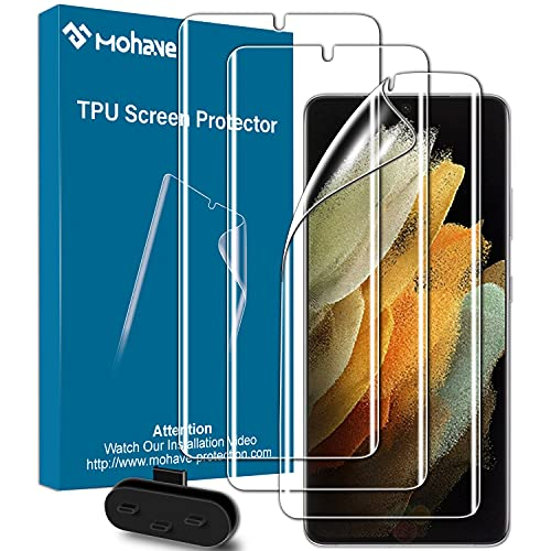 MOHAVE 3Pack Premium Samsung Galaxy S21 Ultra Screen Protector,Flexible TPU Protector Film for S21 Ultra 5G(6.8inch) ,【Support Fingerprint Unlocking】Anti-Scratch, self Healing, Full Coverage,Touch Sensetive