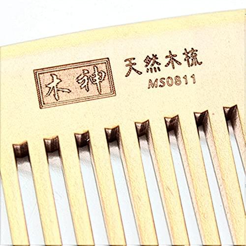 Peine de melocotón tallado para el hogar peine portátil de pelo fino de melocotón natural sin electricidad estática, sin enredos, un regalo para hombres y mujeres