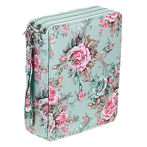 BTSKY Colored Pencil Case- 120 Slots Pencil Holder Pen Bag Large Capacity Pencil Organizer with Handle Strap Handy Colored Pencil Box with Printing Pattern Rose