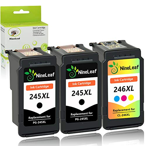NineLeaf Remanufactured Ink Cartridge Compatible for Canon PG-245XL CL-246XL PG-243 CL-244 PIXMA MG2520 MG2920 MG2922 MG2924 MG2420 MG2522 MG3022 MG2555 MX492 (2 Black 1 Tri-Color,3 Pack)