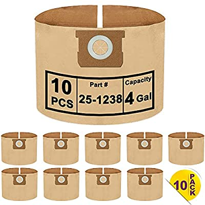 10 Pack Vacuum Filter Bags Compatible with Stanley and Porter-Cable 4 Gallon Wet Dry Vacuum, Part # 25-1238
