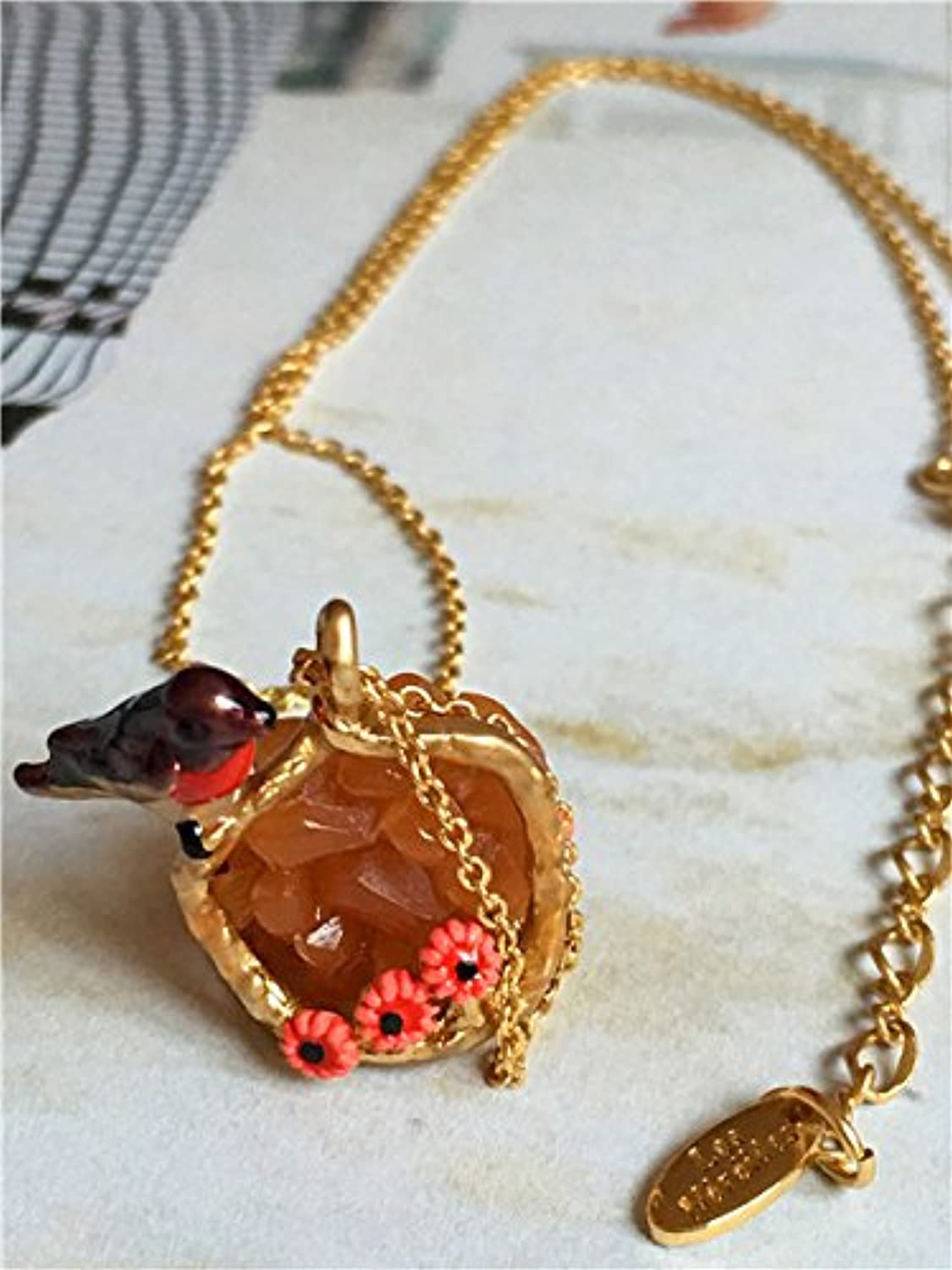 Special French Stone-Bird Short Necklace
