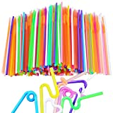 Aneco 100 Pieces Flexible Straws Extra Long Colorful Disposable Plastic Bendable Drinking Straws for Kids and Adults