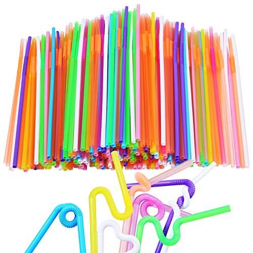 Aneco 100 Stück Flexible Strohhalme extra lang bunt Einweg-Kunststoff biegbar Trinkhalme für Kinder und Erwachsene