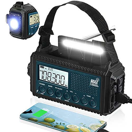 5-Way Powered NOAA Emergency Weather Alert Radio,5000mAh Solar Hand Crank Battery Powered AM/FM/Shortwave Radio,LED Flashlight Reading Lamp for Camping,Power Bank with Phone Charger Earphone Jack