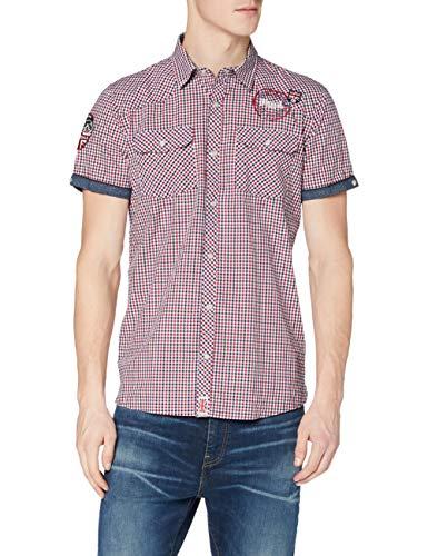 Lonsdale Herren Langarmshirt Hemd REIGATE mehrfarbig (navy/Rot/Weiß) Small