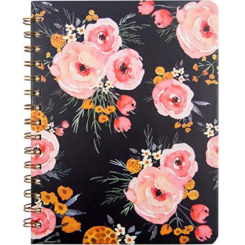 Notizbuch mit Spiralbindung, 21 x 15,9 cm, mit Tasche, Hardcover, 160 linierte Seiten, für Damen, Mädchen, Büro, Schule, Zuhause