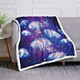 DUISE Sherpa Bedding Comforter Throws Blankets Jellyfish Throw Blanket Blue Kids Adults Soft Fleece Blankets Printed Jellyfish Couch Throws Ocean Sherpa Plush Fuzzy Blanket (50'x60')