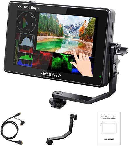 Feelworld LUT7 7 Zoll 1920x1200 IPS 4K Touchscreen 2200nit Ultra Bright DSLR-Kamera Feldmonitor Unterstützung HDMI DC-Ausgang, 3D-Lut, Wellenform, Lichtsensor