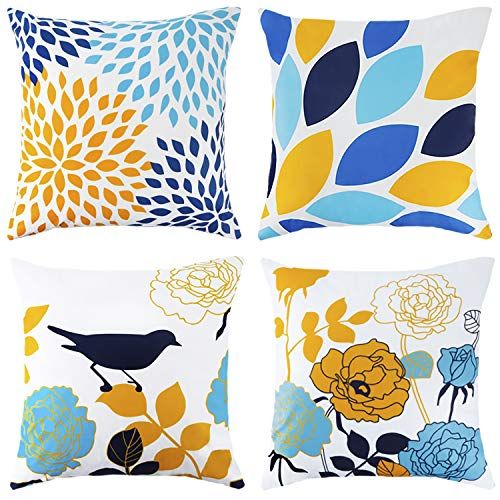 DAPTSY Throw Pillow Case Blue and Yellow Flower Bird Cushions Covers Soft Short Plush Square Throw Pillow Cover for Living Room Sofa Couch Bed Outdoor Pillowcases 45cm x 45cm Set of 4