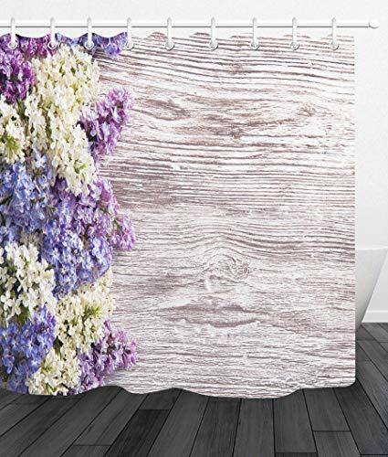 LUODAN Flieder blüht hölzernes BrettDekorativer wasserdichter Duschvorhang mit HD-Druck, geeignet für Badezimmer, 12 freie Haken, 180x180 cm des Blumenstraußes