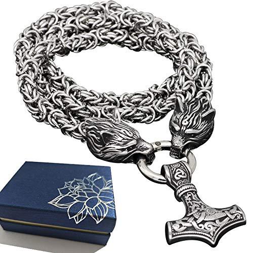 BBYaki Viking Wolf Head Herren Anhänger Halskette Thor Hammer Mjolnir Halskette Titan Stahl Königskette Nordische Mythologie Heidnisches, Verfärbung,ChainLength60cm