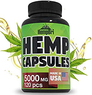 Hemp Oil Extract Capsules For Pain Relief & Anxiety Best Joint Support your Health & Sleep Supplement Pill Tablets Immune and Mood Anti Inflammatory Natural Organic Hemp Seed Oils Pure Powder