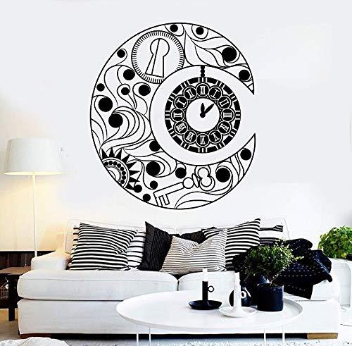 wopiaol Vinyl muurtattoo Crescent Moon symbool klok droom slaapkamer sticker uniek geschenk 57x64cm