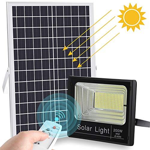 LEDMO Faretto LED Solare Esterno 200W, con Telecomando Pannello Solare,Luce Solare LED Esterno Super luminoso 400leds 6500K IP67 Impermeabile.