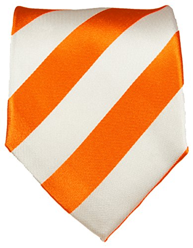 Paul Malone Cravate homme orange blanc rayé 100% soie