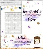 Photocall + Cartel de comunión niña 100x100cm  Divertido y económico Detalle de comunión  Hazte Unas Fotos Divertidas en el comunión de tu Hija  Personalizable