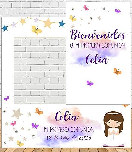 Photocall + Cartel de comunión niña 100x100cm| Divertido y económico|Detalle de comunión| Hazte Unas Fotos Divertidas en el comunión de tu Hija| Personalizable