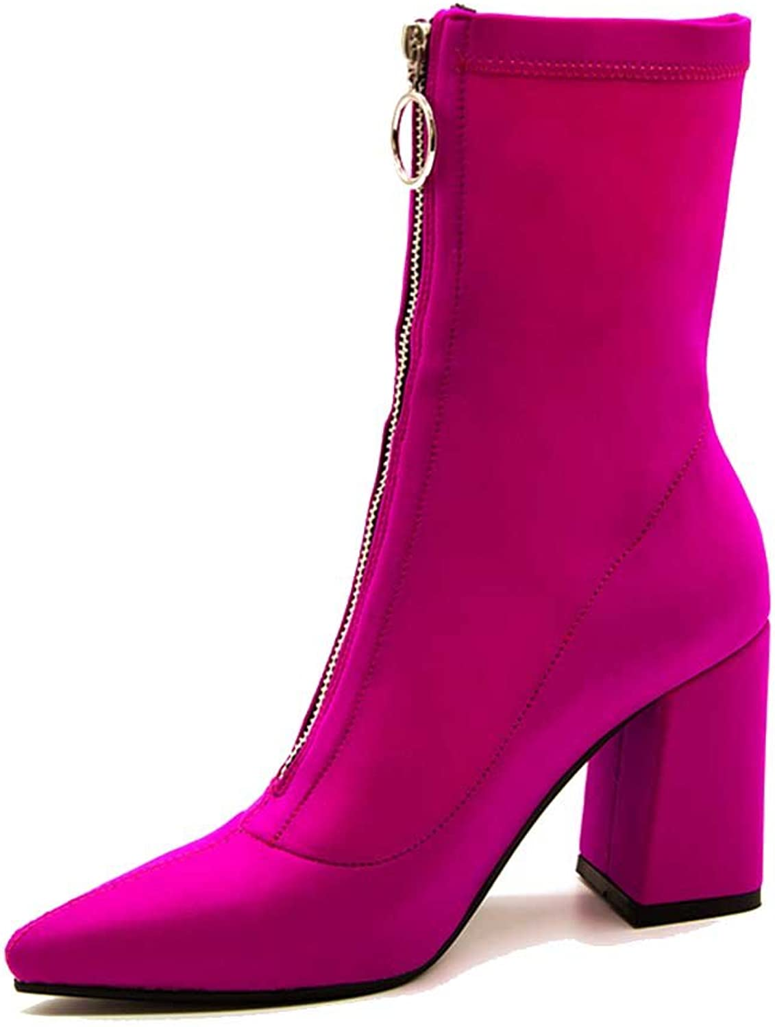A-BUYBEA Women's Casual Pointed Toe 3.54  Chunky High Heel Spandex Lycra Front Zipper Boots shoes 4.5-10.5