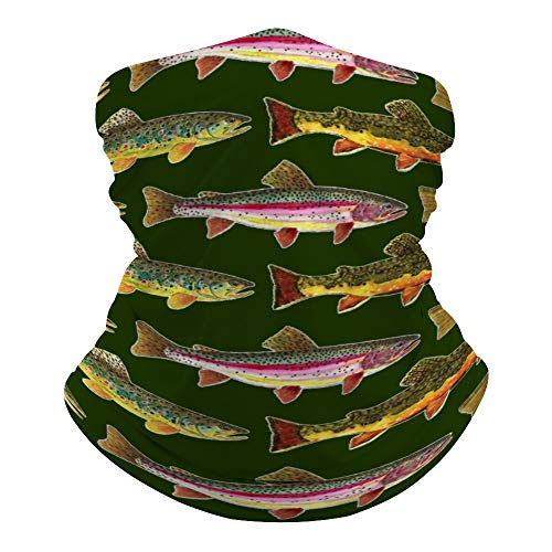 Brown Trout Fishing Neck Gaiter Mask Cooling Summer Face Cover Scarf Breathable Bandana Seamless Balaclavas Headband for Men Women