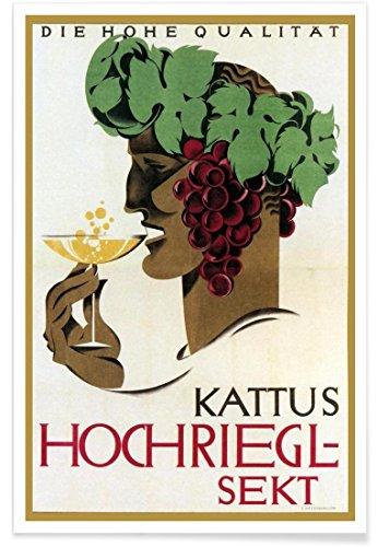 """JUNIQE® Essen & Trinken Vintage Poster 40x60cm - Design """"Hochriegel Sekt"""" entworfen von Vintage Art Archive"""