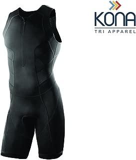 Kona Men's Triathlon Race Suit - Speedsuit Skinsuit Trisuit Sleeveless - One-Piece Vest and Short Combo That Half zips with a Rear Pocket for Storage