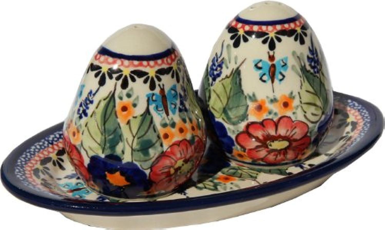 Polish Pottery Salt and Pepper Shakers From Zaklady Ceramiczne Boleslawiec  961-149 Art Unikat Signature Pattern