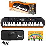 kit pianola tastiera casio sa76 (fondo arancione) con borsa ffalstaff ®, alimentatore e metodo rapidosuona la tastiera
