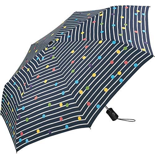 Regenschirm Bikini Dots & Stripes Navy Blau - Taschenschirm Auf-Zu-Automatik