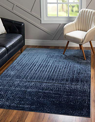 Unique Loom Del Mar Collection Contemporary Transitional Blue Area Rug (8' 0 x 10' 0)
