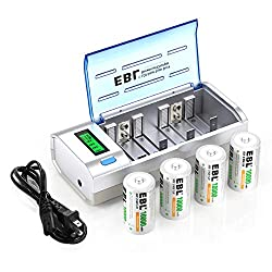 small EBLD cell rechargeable battery 10000mAh (4 compartments) with AA AAA 9V CD charger