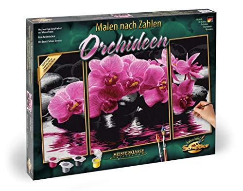 Schipper 609260603 - Malen nach Zahlen - Orchideen - Bilder malen für Erwachsene, inklusive Pinsel und Acrylfarben, Triptychon 50 x 80 cm