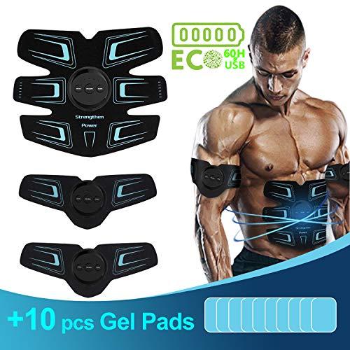 sakobs Electroestimulador Muscular Abdominales Electroestimulacion hasta 60 Horas de Uso, USB Recargable EMS Estimulador Muscular, Última Versión 2019 con Almohadillas de Gel de Repuesto de 10 Piezas