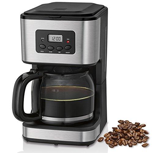 briebe Cafetera programable eléctrica de Goteo automática, máquina café de Filtro Capacidad 12 a 14 Tazas, 1,5 litros, Display Digital Hora 24h/Temporizador, 900 W, Color Negro Acero Inoxidable