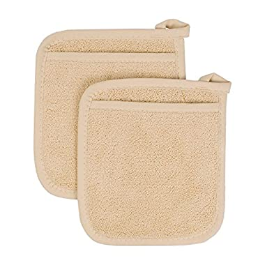 Ritz Royale Collection 100% Cotton Terry Cloth Pocket Mitt Set, Dual-Function Hot Pad / Pot Holder, 2-Piece, Latte