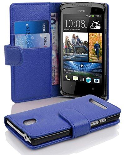 Cadorabo Hülle für HTC Desire 500 in KÖNIGS BLAU – Handyhülle aus Strukturiertem Kunstleder mit Standfunktion & Kartenfach – Hülle Cover Schutzhülle Etui Tasche Book Klapp Style