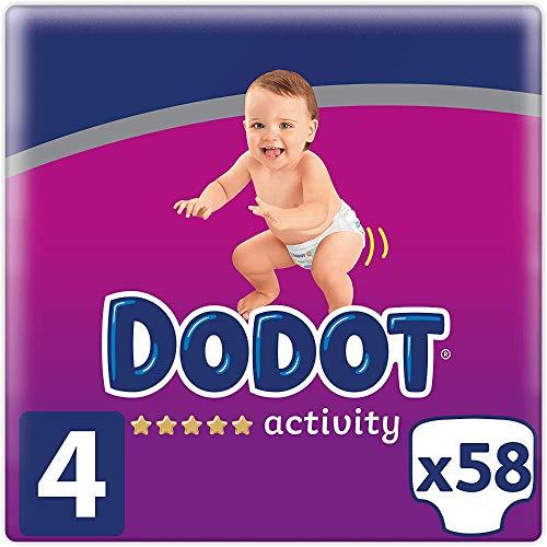 DODOT Activity Pañales Talla 4, 58 Pañales, 9-14 kg, con Ajuste Resistente, Blanco (8001841630977)
