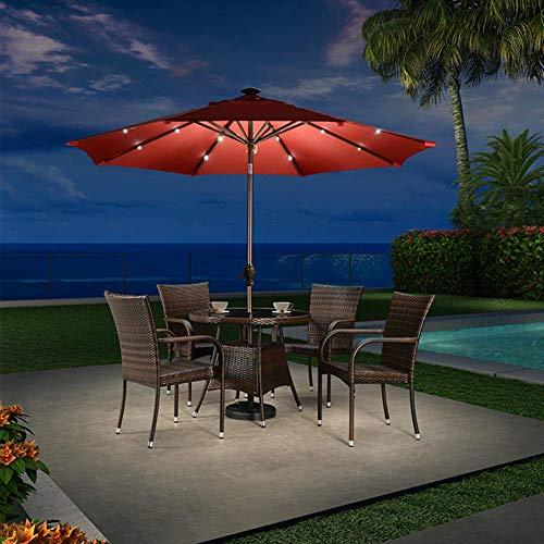 AJH Sombrilla para sombrilla 10 pies / 3 m, sombrilla LED de 360 Grados para el Mercado Sombrilla Grande con Sistema de manivela para Exteriores, jardín y Patio, Roj
