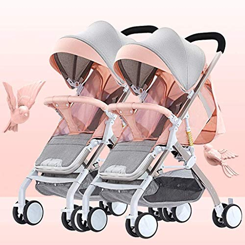 Buy Discount TZZ Double Baby Stroller, with Side by Side Twin Seats,Double Toddler Baby Pram with Ba...