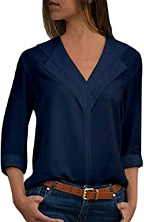 Winwinus Women Loose Long Sleeves V Neck Chiffon Solid Color Blouse Dress Shirts Tops